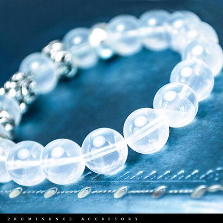【天然石 | ヒマラヤムーンクォーツ・百合紋章ブレスレット】守護・強力な精神安定・ヒーリング