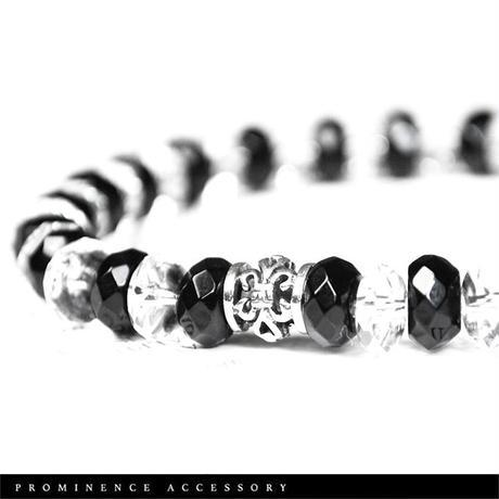 【天然石 | オニキス・天然水晶・百合紋章・シルバー925・ブレスレット】守護・事故除け・魔除け・パワーストーン