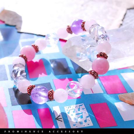 【天然石 | ディープ・ローズクォーツ・天然水晶・ラベンダーアメシスト・ピンクゴールド・ブレスレット】守護・愛情・恋愛・心身浄化・癒し・パワーストーン