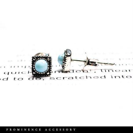 【天然石 | ラリマー・スクエア シルバー925・シンプルピアス/片耳】守護・深い癒し・平和・慈愛・パワーストーン