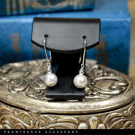 【天然本真珠 アコヤパール7.5mm珠(染め)18金ホワイトゴールド・ピアス】ホワイト