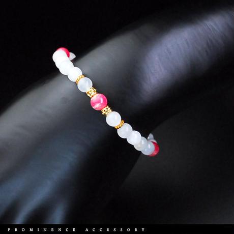 【天然石 | ムーンストーン・インカローズ・エレガントブレスレット-02】恋愛・愛情・精神安定・癒し・パワーストーン