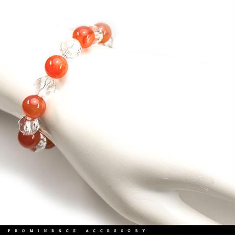 【天然石 | 極上オレンジ・カルセドニー・スターカット水晶・シンプルブレスレット】ポジティブ・活力・心身浄化