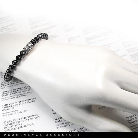 【天然石|オニキス・スカル・シルバー925・シンプルブレスレット】守護・事故除け・魔除け・邪気除け・パワーストーン