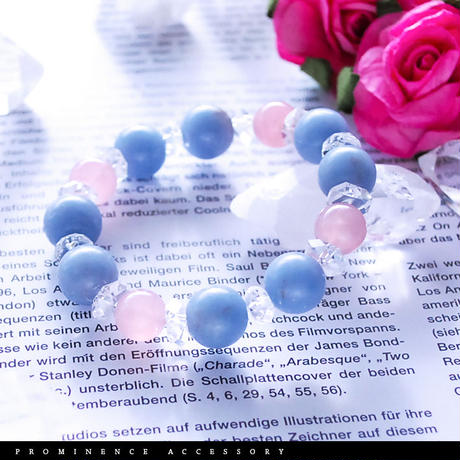 【天然石 | エンジェライト・ディープローズクォーツ・天然水晶ブレスレット】守護・深い癒し・平和の心・愛情・恋愛・心身浄化・パワーストーン
