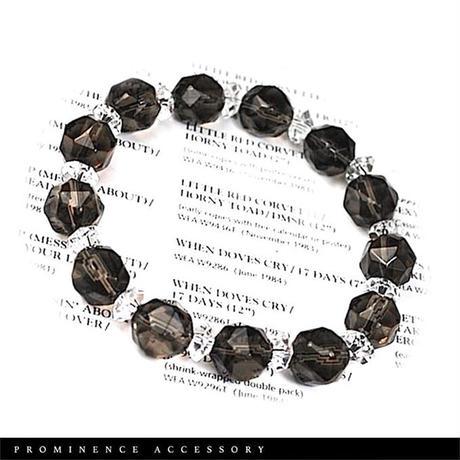 【天然石   スターカット・スモーキークォーツ・天然水晶ブレスレット】守護・邪気除け・魔除け・癒し・心身浄化