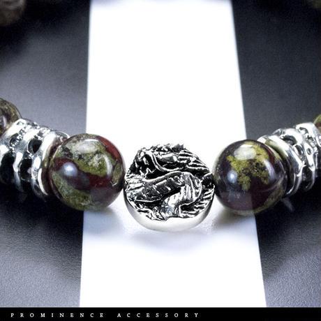 【天然石 | ドラゴン・ブラッド・ジャスパー・龍神・シルバー925ブレスレット】魔除け・生命力・体力回復・ヒーリング