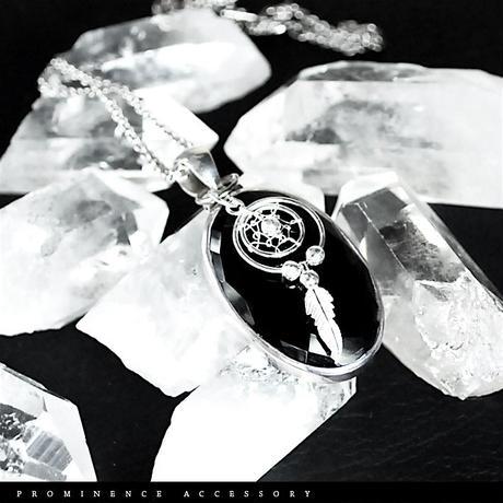 【天然石 | カット・オニキス・シルバー925・ドリームキャッチャー・ペンダント】守護・魔除け・事故除け・パワーストーン
