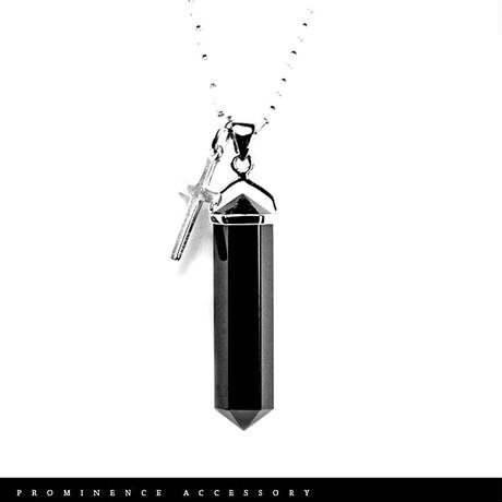 【天然石|六角柱ダブルポイント・オブシディアン・クロスシルバー925・ペンダント】守護・魔除け・邪気除け・悪習慣を断つ・パワーストーン