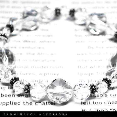 【天然石 | 水晶カットグラデーション・シルバー925ブレスレット】守護・幸運・浄化