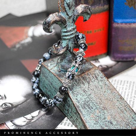 【天然石 | スノーフレークオブシディアン・オニキス・クロスシルバー925ブレスレット】守護・悪霊除け・魔除け