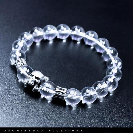 【天然石 | 天然水晶・スカル・シルバー925・シンプルブレスレット】守護・心身浄化・癒し・パワーストーン