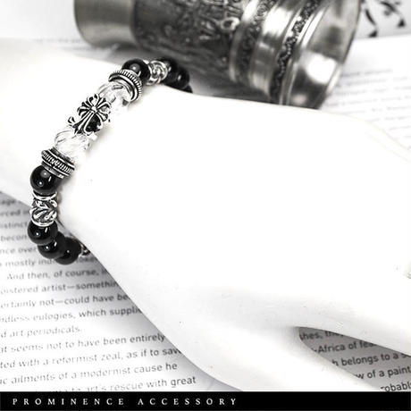 【天然石   スクリューカット・天然水晶・オニキス・シルバー925 ダブルクロスブレスレット】守護・魔除け・心身浄化