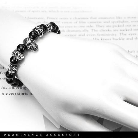 【天然石|オニキス・スカル&クロス・シルバー925製・限定ブレスレット】守護・魔除け・事故除け・パワーストーン
