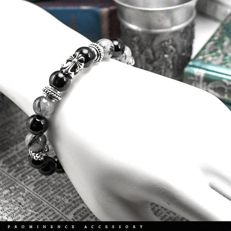 【天然石 | オニキス・トルマリン・シルバー925クロス・ブレスレット】守護・魔除・電磁波軽減