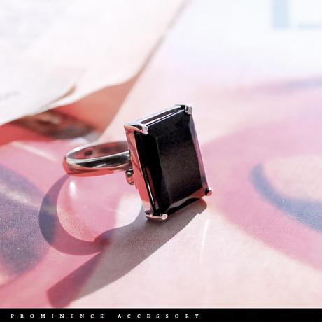 【天然石 | オニキス・スクエア・シルバー925・シンプル・フリーリング】守護・事故除け・魔除け・パワーストーン