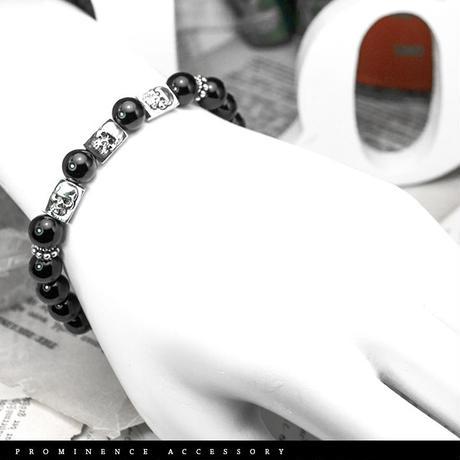 【天然石|オニキス・スカル・シルバー925プレート・ブレスレット】魔除け・事故除け