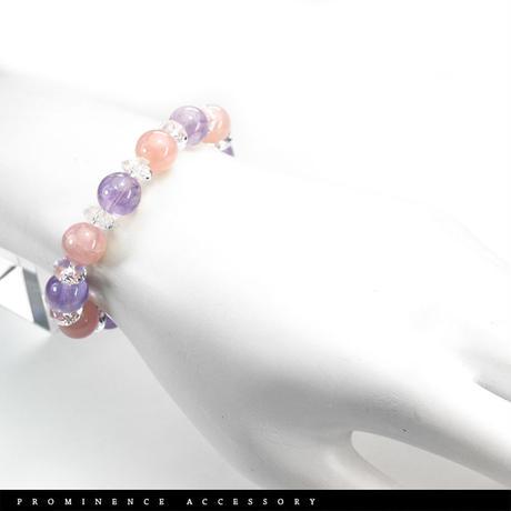 【天然石 | ディープローズクォーツ・アメシスト・天然水晶・ブレスレット-01】恋愛・愛情・癒し