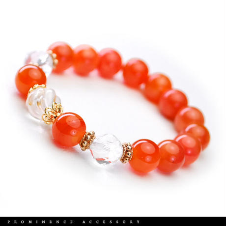 【天然石 | オレンジ・カルセドニー・天然水晶・ピンクゴールドブレスレット】守護・ポジティブへ導く・活力・心身浄化・パワーストーン
