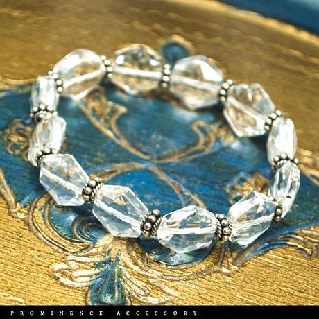【天然石 | 六芒星・天然水晶・ヘキサグラム・シルバー925・シンプルブレスレット】守護・開運・心身浄化