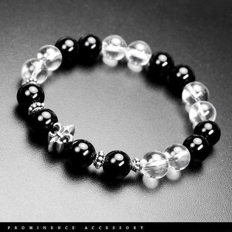 【天然石 |オニキス・天然水晶・シルバー925百合紋章ブレスレット-X1】守護・魔除け・事故除け・心身浄化