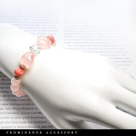 【天然石 | ローズクォーツ・ハート・インカローズ・天然水晶・ピンクゴールド・リボンブレスレット】守護・恋愛・愛情・美容・パワーストーン