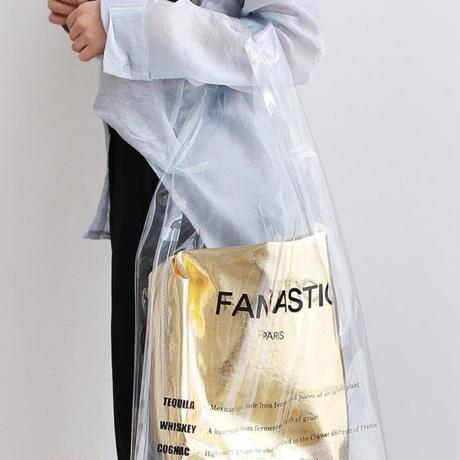 SNSでも話題 大きなポーチ付き クリアバック 透明バッグ