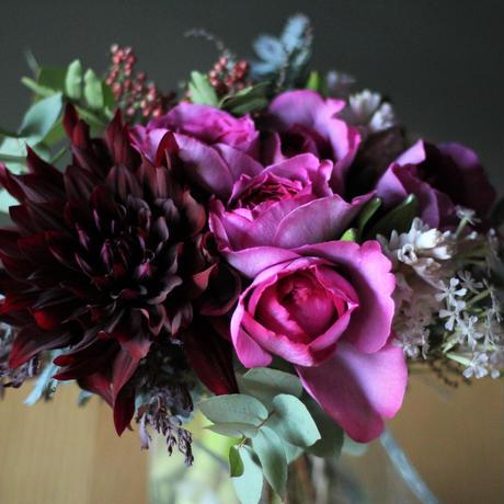 定期便 1か月毎 季節のグリーンや花を使ったおまかせのブーケor アレンジメント M size ギフト