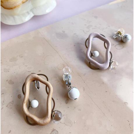 wood wave pierce/earring (natural/light pink)