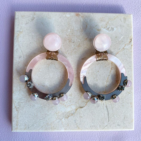 hoop shell pierce/earring (pink)