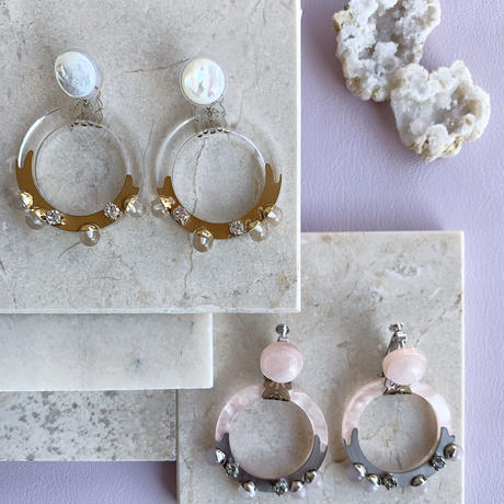 hoop shell pierce/earring (clear)