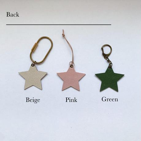 [キーホルダー] little star leather name tag
