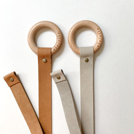 Leather hair clip holder Minimal  - Camel / Grey