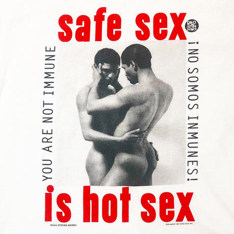 """1991s HIV """"safe sex"""" T-shirt, Photography by STEVEN MEISEL"""