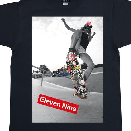 Eleven Nine / Tシャツ/  Box Rogo /Skateboard  /ブラック