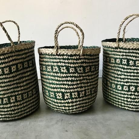 ベトナム製 花模様ラウンドバスケット