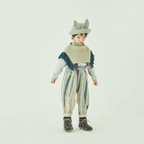 Crambon stripe suspender pants