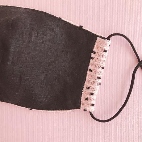 Pink×black Dots tweed mask