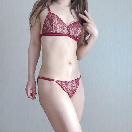 Fresh triangle soft bra deep red