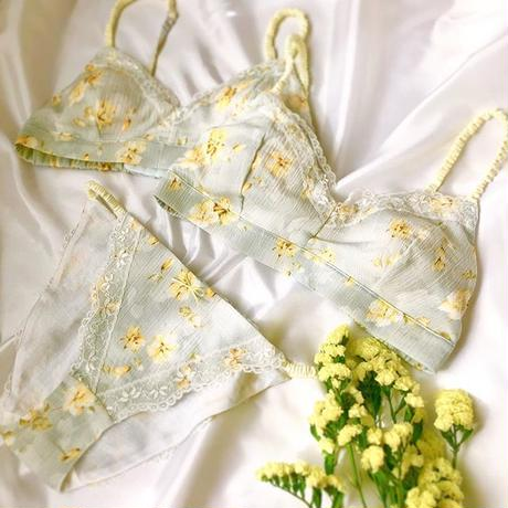 Light blue×Lemon yellow  cotton bra