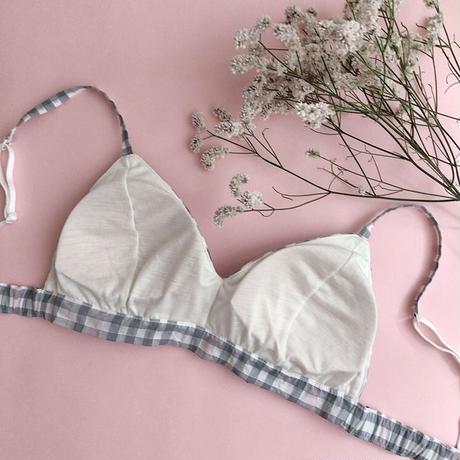 Mannish checked bra(gray×pink)