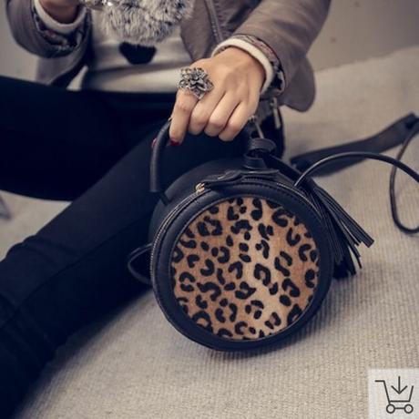 レオパード柄 円筒バッグ