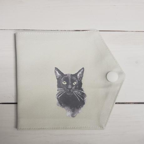 【日本製】クレンゼコットン100%抗菌・抗ウィルス生地のマスクケース(黒系猫③)