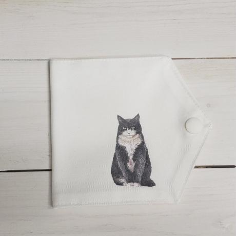 【日本製】クレンゼコットン100%抗菌・抗ウィルス生地のマスクケース(黒系猫①)