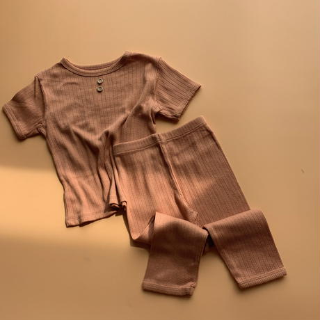 kids lace rib button tee & long pants
