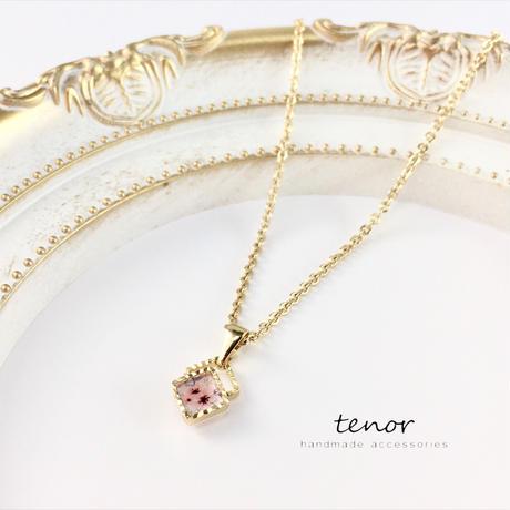 スクエアネックレス *くすみピンク桜*
