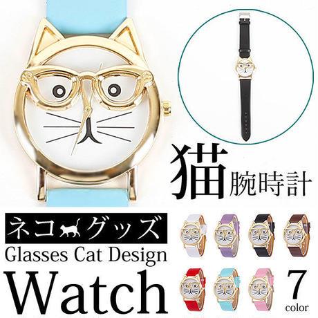 全7色 ねこデザイン レザーベルト腕時計