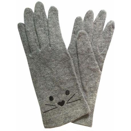 レディース手袋 猫デザイン  ウール 薄手   4色