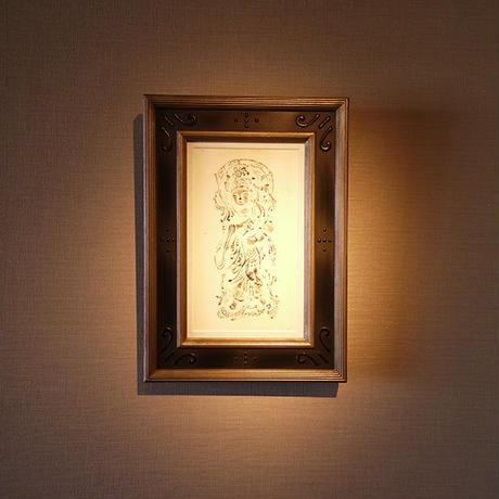 "音声菩薩拓本額 Folio of rubbings of Bodhisachs  ""Onjo-Bosatsu"""