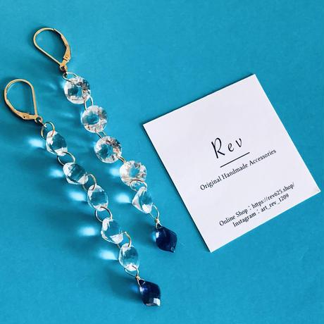 水晶×アイオライトのロングピアス(イヤリング)K14GF